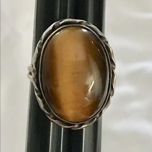 Vintage Handmade Silver Tiger Eye Ring
